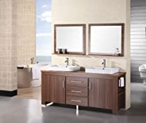 Hot Sale Design Element DEC083D-L Washington 72-Inch Double Sink Vanity Set in Toffee Finish