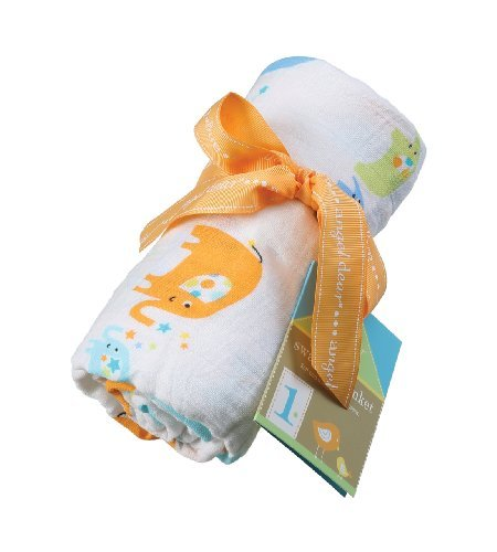 Angel Dear Muslin Swaddle Two Pack-Blue Elephant and Stars