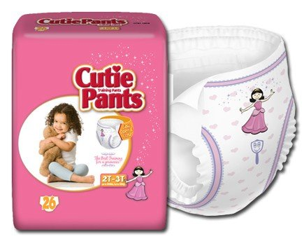 Cuties Refastenable Training Pants- Girls (Case) (2T To 3T (Up To 34 Lbs)- 4 Bags Of 26)