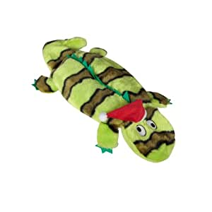 Kyjen 2583 Invincibles Plush Holiday Gecko Stuffingless Dog Toys Squeaker Toy 4-Squeaker, Large, Green