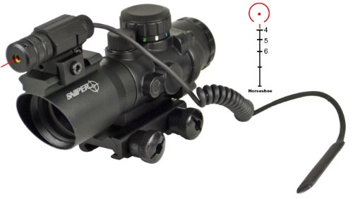 Sniper Tactical Prism Scope With Single Rail And Red Laser Less Than 5 Mv On Top And Horseshoe Reticle