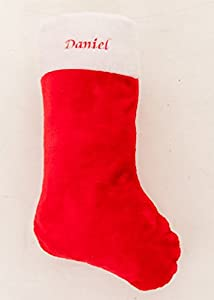Personalised Embroidered Red Plush Christmas Stocking with name Super Jumbo 57x30cm