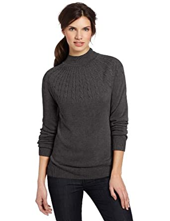 Sag Harbor Women's Sunburst Cashmerlon Sweater, Heather Grey, Small