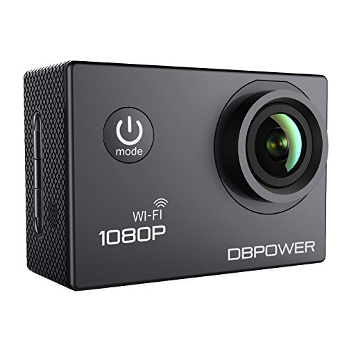 DBPOWER® WIFI Action Camera impermeabile 1080P HD 12MP KIT 2 Batterie ed accessoristica varia (Nero WIFI)