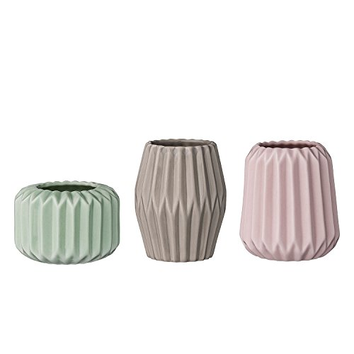 Bloomingville Teelichthalter, mint/rosé/grau (7,8x7,8x5,5cm;) 3er Set