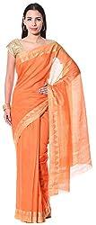 Mahek Women's Silk Saree with Blouse Piece (Orange)