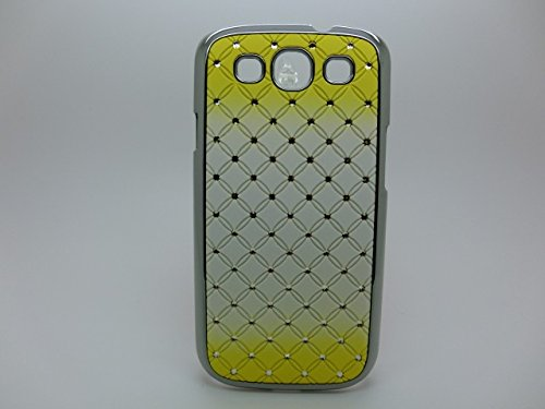Maclogy 2014 Latest Fashion Design Luxury Dazzling Rhinestones Shiny Crystal Diamond Plating Protective Shell Trapped Difficult Cases Gradient Series Samsung Galaxy S3 I9300 And Fashion Chain Crystal Ornaments Color Uv Radiation Gifts(Yellow)