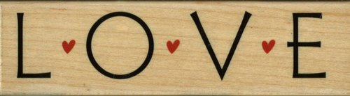 Love With Hearts Wood Mounted Rubber Stamp (H3778)