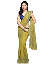 Utsav Fashion Women's Light Olive Green Viscose Georgette Saree with Blouse - B00LA0VEQ8