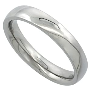 Surgical Steel 4mm Domed Wedding Band Thumb Ring Comfort-Fit High Polish, sizes 5 to 12