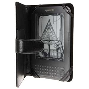 AMAZON KINDLE FOLIO STYLE PU LEATHER CASE / POUCH / HOLSTER / COVER - BLACK PART OF THE QUBITS ACCESSORIES RANGE