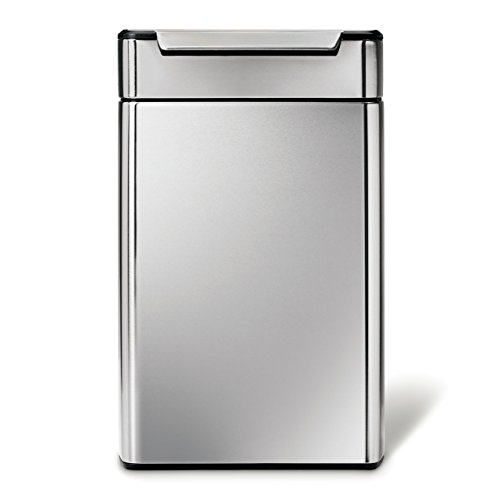 simplehuman Rectangular Touch-Bar Trash Can Recycler, Stainless Steel, 48 L / 12.6 Gal (Simplehuman Recycling Trash Can compare prices)