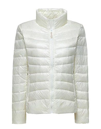 Women's Winter Lightweight Full Zip Puffer Quilted Short Down Coat Jacket White (Ll Bean Womens Quilted Jacket compare prices)