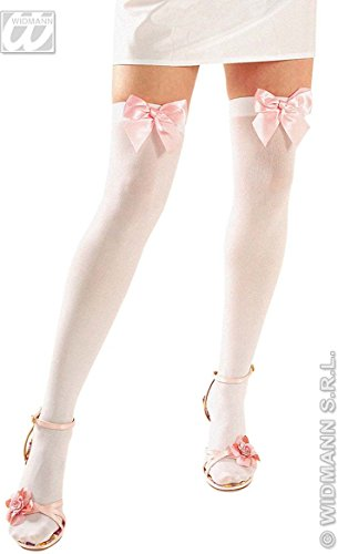 WHITE THIGH HIGHS W/RIBBONS **red or pink only