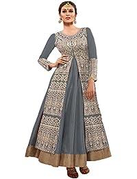 Beautiful Grey Geaorgette Semi-Stitched Salwar Suit