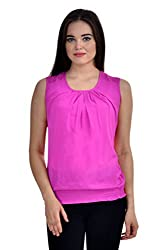 Femninora Purple Color Casual Top With Shoulder Net