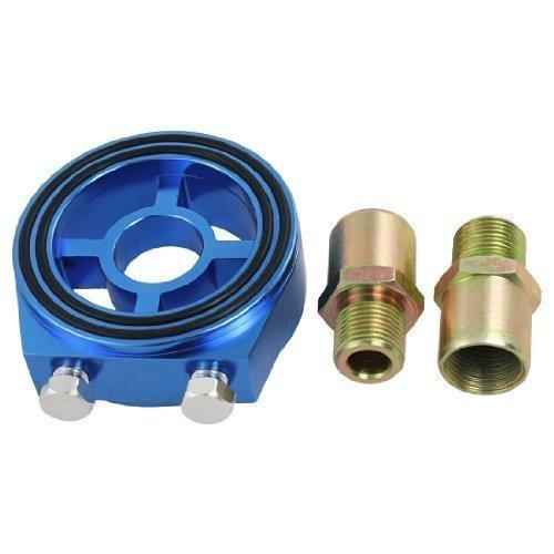 sourcingmap-universal-car-auto-blue-aluminum-oil-filter-sandsich-adapter-kit
