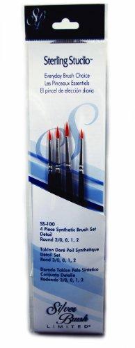 Silver Brush SS-100 Sterling Studio Golden Taklon Short Handle No.1 Round Brush Set, 4 Per Pack - 1