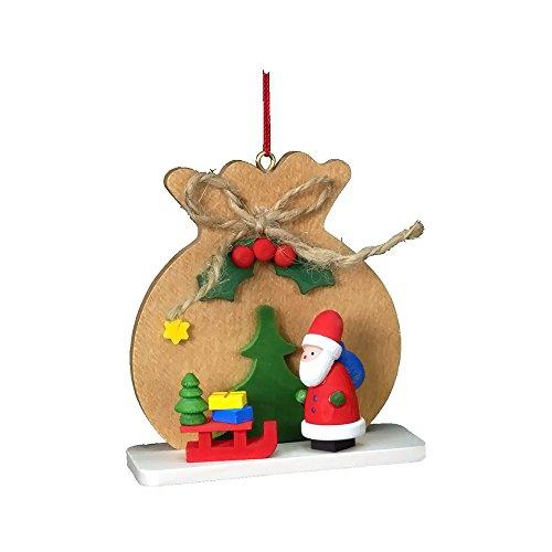"10-0415 – Christian Ulbricht Ornament – Santa with Brown Toy Sack – 2.5″""H x 2.5″""W x 1″""D"