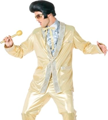 d8e8df3d87b9 Mens Adult Halloween Costumes Officially Licensed Gold Lame Suit Elvis  Presley Costume Theme Party Outfit Review