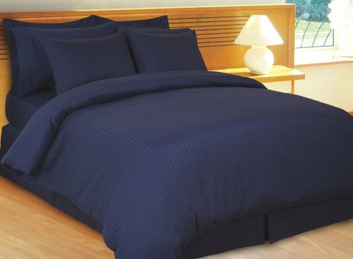 4-pc Full/ Queen Size Stripe Navy Duvet Cover