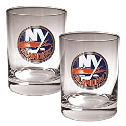 New York Islanders 2pc Rocks Glass Set - Primary Logo NHL Hockey