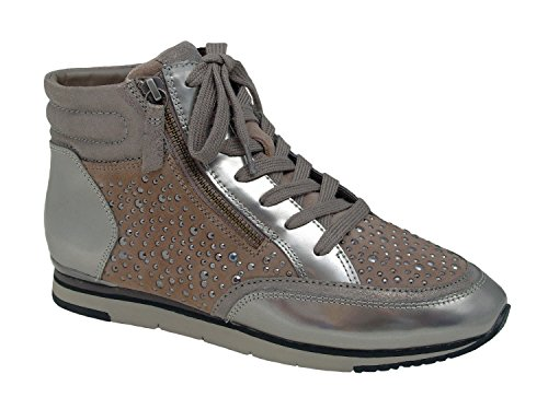 Gabor donne ad alto Top Sneaker 54.522.12 ghiaia, Gr. 38-40, in pelle, miglior montaggio, intercambiabile, Damen Größen:38;Farben:grau/kombi