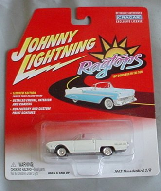 Johnny Lightning Ragtops 1962 Thunderbird S/R WHITE Convertible - 1
