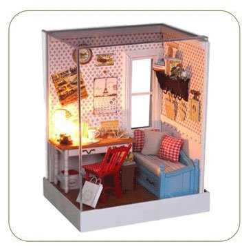 Big Dollhouse Miniature Diy Wood Frame Kit With Light Model Sweet Promise Gift Ldollhouse45-D86