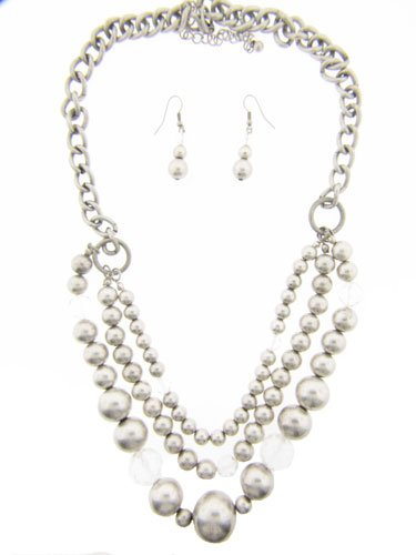 Metal  Crystal Necklace and Earrings Set