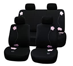 Fh-fb053114 Floral Embroidery Design Airbag Ready and Split Bnech Car Seat Covers Black Color
