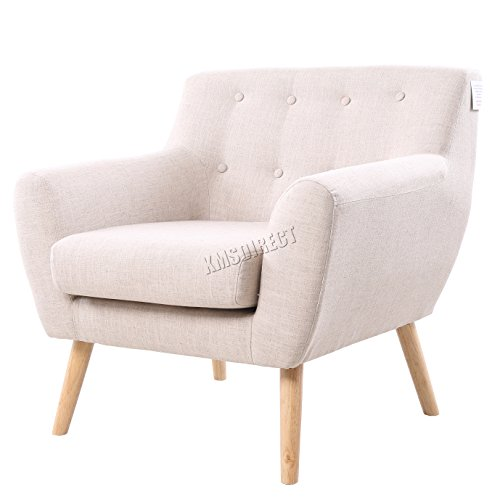 FoxHunter-Linen-Fabric-1-Single-Seat-Sofa-Tub-Armchair-Dining-Living-Room-Lounge-Office-Modern-Furniture-SSSF-03-Cream-New
