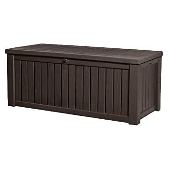 Keter Rockwood Plastic Deck Storage Container Box Outdoor Patio Garden Furniture 150 Gal, Brown