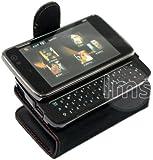 BLACK WALLET LEATHER CASE II FOR NOKIA N900 + FILM
