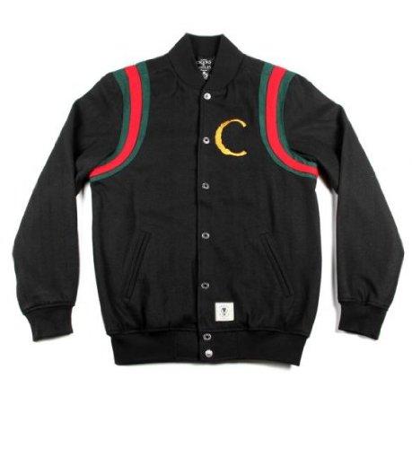 Crooks and Castles Mens Woven Baseball Jacket Hi Luxe Black: Medium