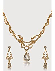 Estelle Gold Plated Necklace Set With Crystals For Women - B00NAX07X4
