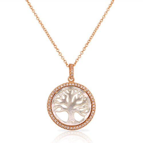 .925 Sterling Silver Rose Gold Plated Mother Of Pearl Crystals Cz Tree Of Life Classic Pendant Necklace