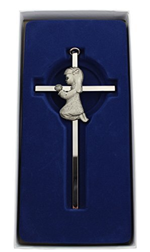 Silver Girl wall Cross Infant Blessing Baby Plaque Wall Decor Hanging Infant Gift Communion Baptism Birthday Great Gift New