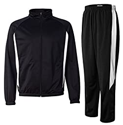 Augusta Sportswear Men\'s Medalist Tracksuit, Top: 2XL / Bottom: XL, Black/White