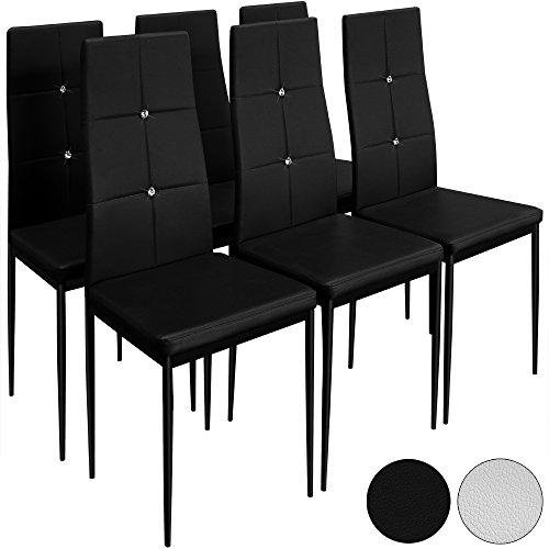 6-Esszimmersthle-Stuhl-Hochlehner-Polsterstuhl-Sitzgruppe-Essgruppe-Esszimmerstuhl-Schwarz