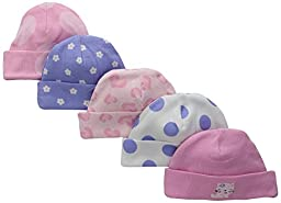 Gerber Baby-Girls Cap, Leopard, Newborn (Pack of 5)
