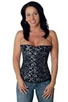 Steel boned Corset Brocade Halfbust Silver from fapedo