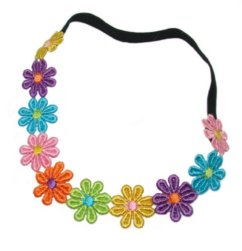 Multi Coloured Daisy Chain Elasticated Headband for Hippie Costume.
