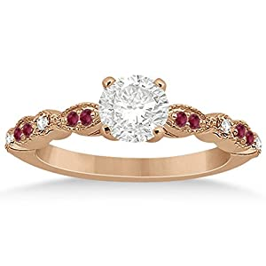 Petite Milgrain Marquise and Dot Ruby and Diamond Engagement Ring in 14k Rose Gold 0.2ct