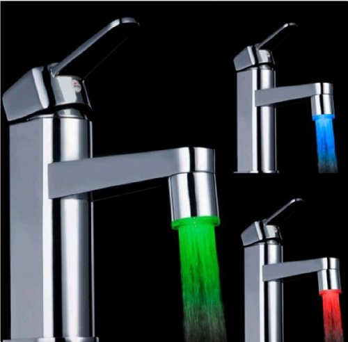 Elecs Temperature Sensor Led 3 Colors Changing Rgb Glow Led Faucet Tap For Kitchen Bathroom With Length 35Mm Outer Diameter 28Mm Ld8001-A9(T)