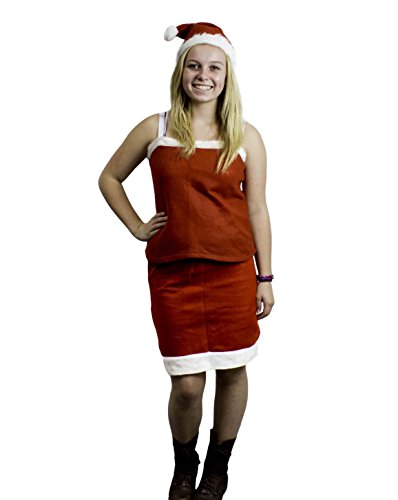 Mrs Santa Claus Christmas Adult Costume Outfit Set w/ Skirt, Tank Top & Hat