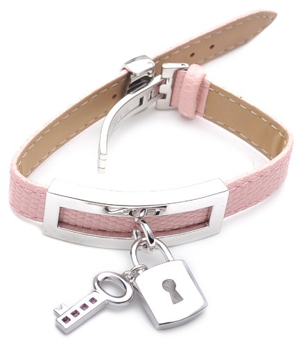 Silver With Stainless Steel and Pink Watch Strap
