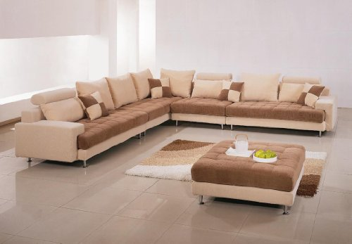 G60B Beige Fabric Sectional Sofa With Ottoman