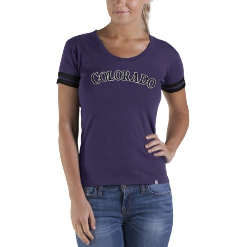 MLB Colorado Rockies Women's Showtime Scoop Tee, Medium, Grape