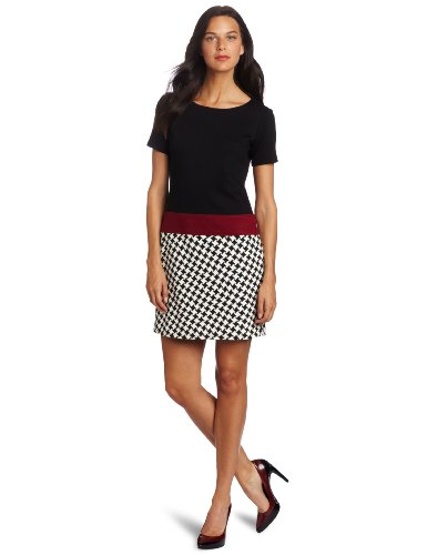 Maggy London Women's Short Sleeve Houndstooth Bottom Dress